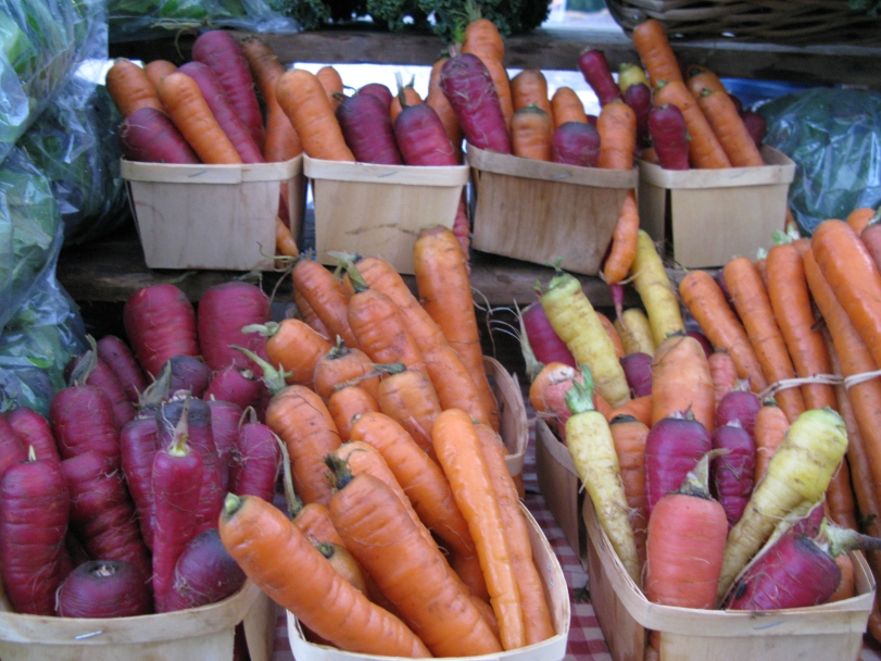 Rainbow carrots add beautiful color to a bleak, rainy December day.